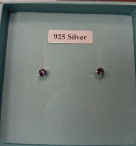 Sterling silver mini Solitaire Studs