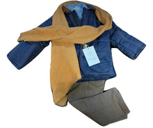 Quilted jacket, shirt, trousers & scarf set