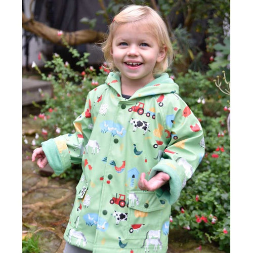 Down on the Farm Print Raincoat