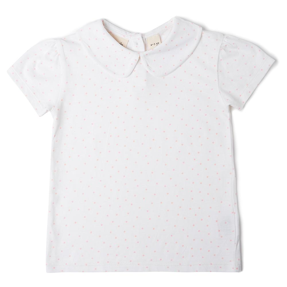 Peter Pan Collar, Short Sleeved T-Shirt - White with Pink Spots