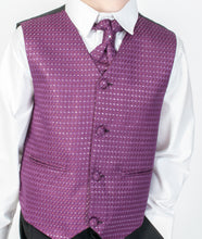 Black Diamond Boys 5 pce Suit with Purple Waistcoat