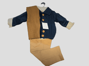 Cardigan, shirt, trousers & scarf set