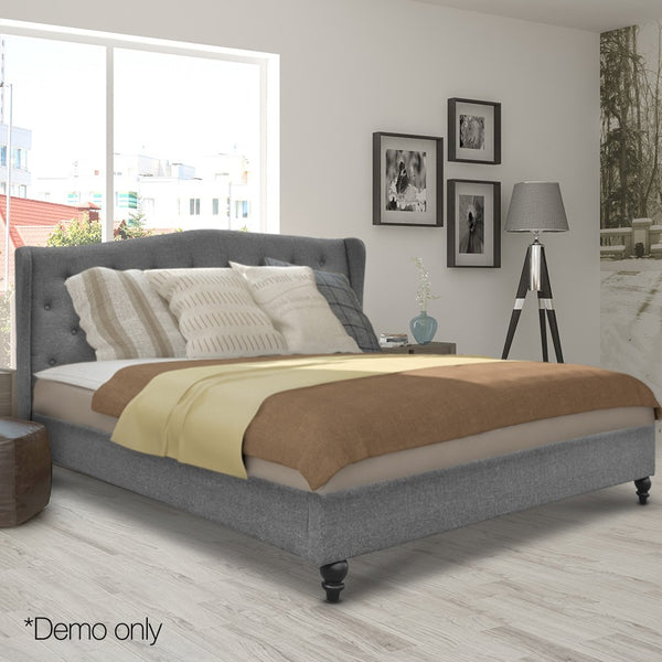 Wooden Upholstered Queen Sized Bed Frame with Headboard Grey