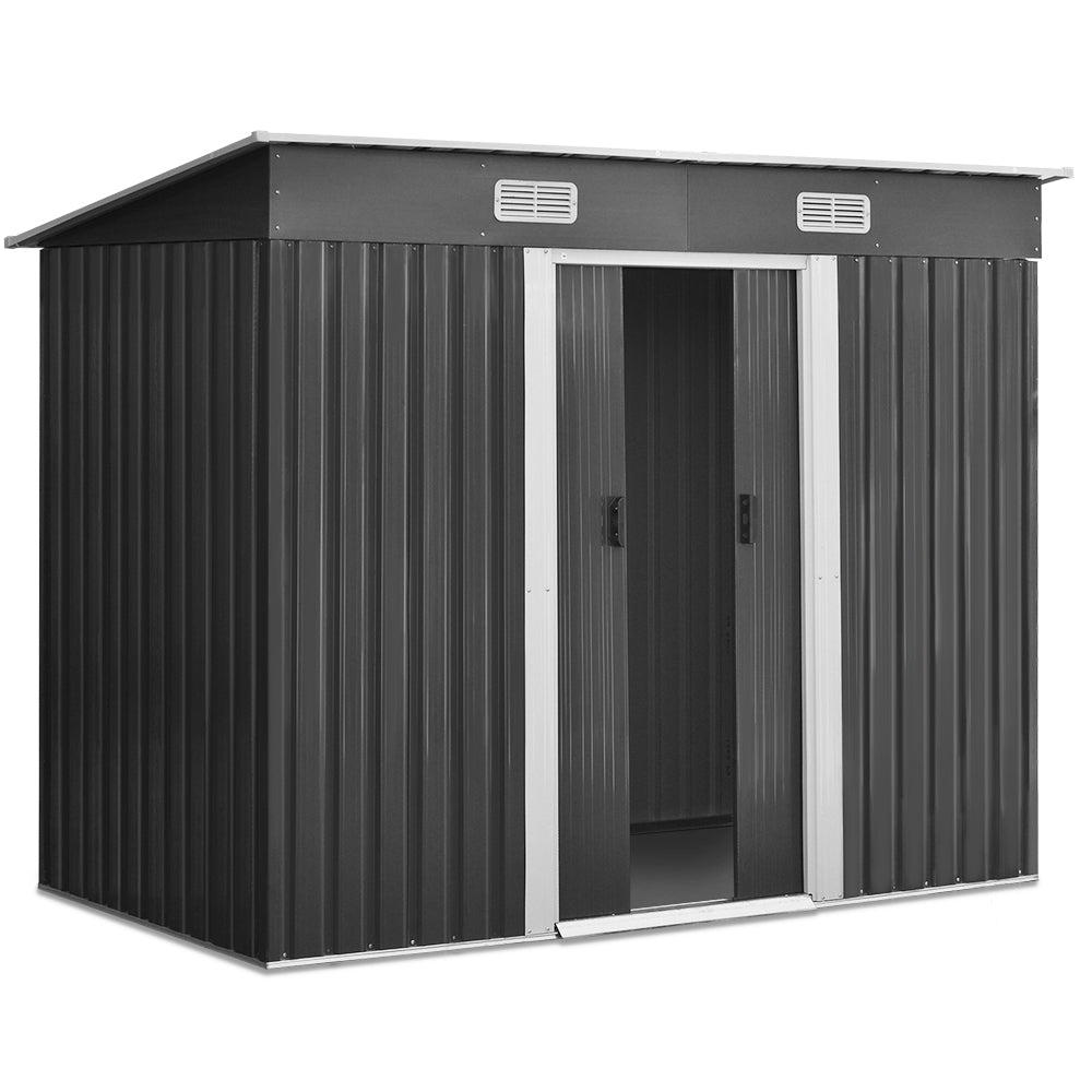 2.35 x 1.31m Grey Steel Base Garden Shed