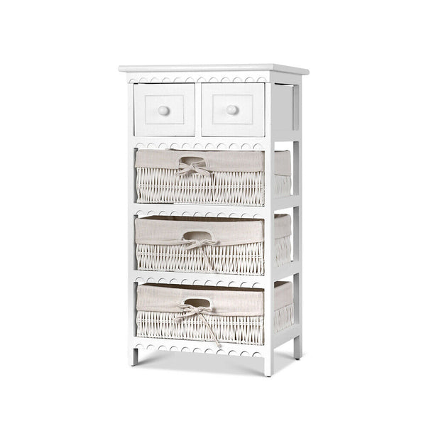 Lovren White Basket Storage Unit