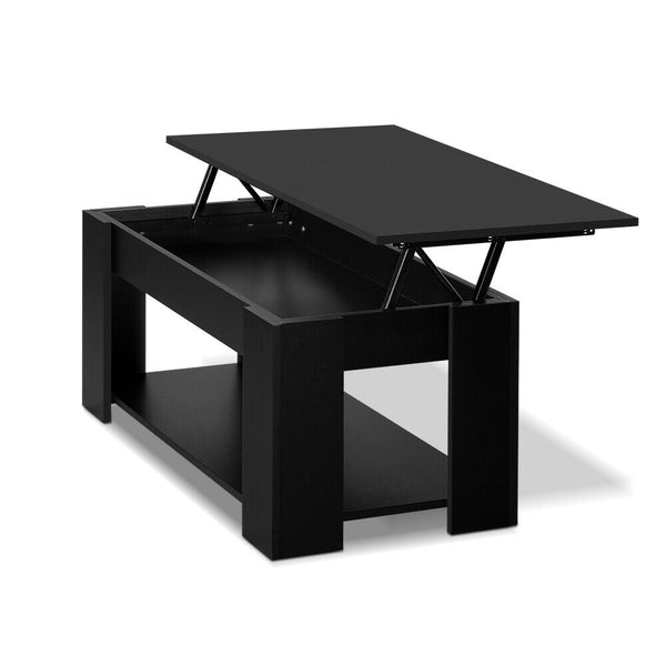 Nicode Black Wooden Lift Up Coffee Table