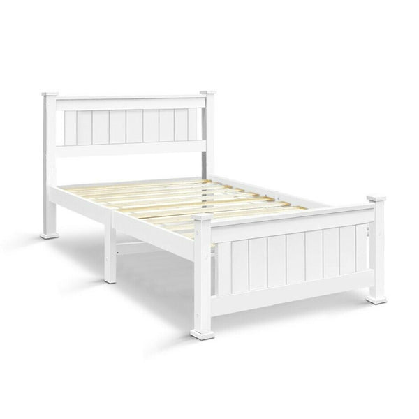 Hano Single White Bed Frame