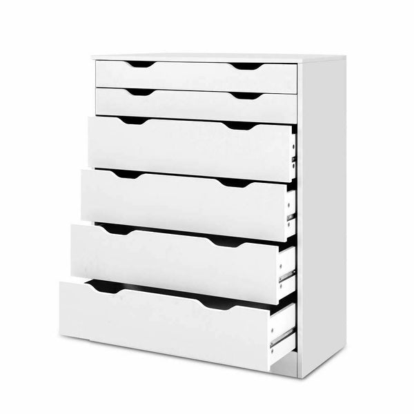 Hugo White 6 Drawer Storage Tallboy