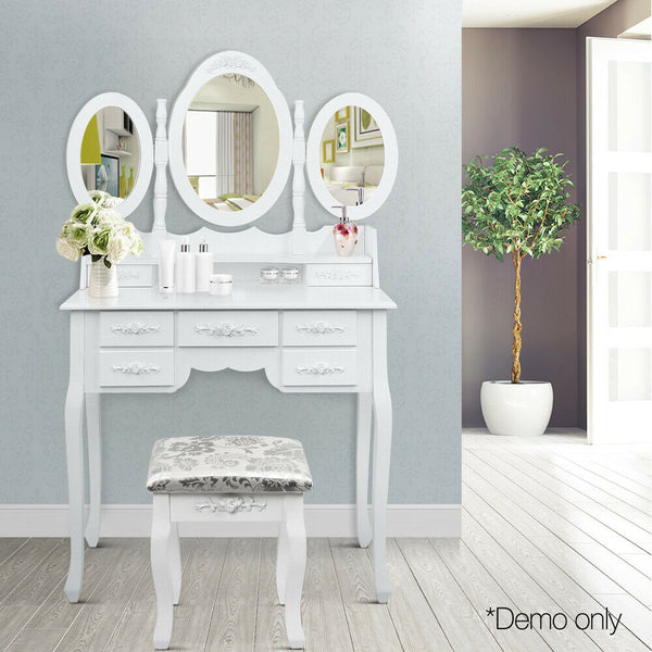 Dressing Make Up Table Mirror White 7 Drawer