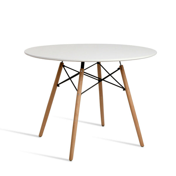 Megano Solid White Round Beech Timber Dining Table