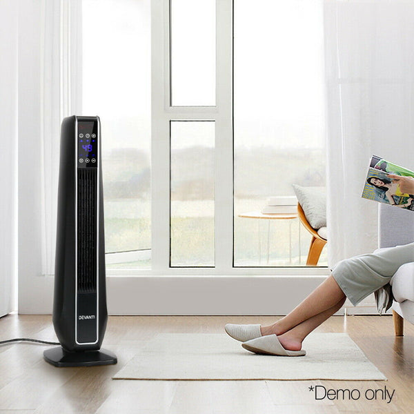 LED Electric Ceramic Tower Heater Black