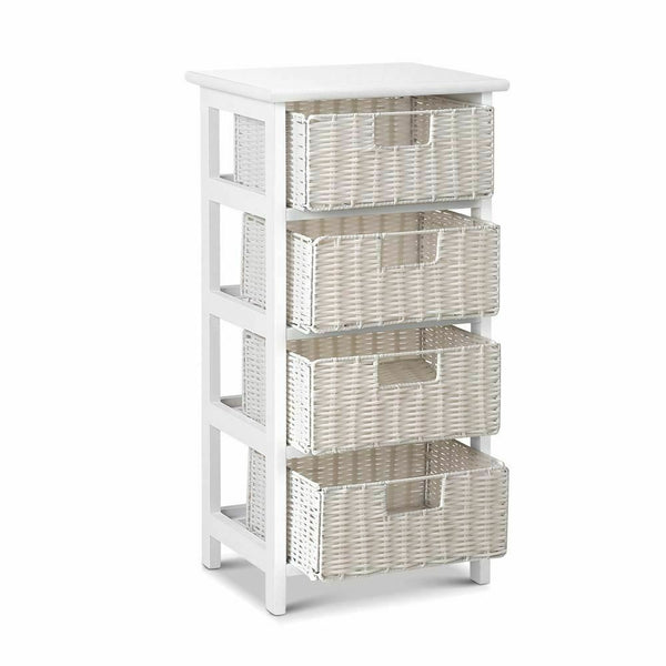 Milena White 4 Drawer Basket High Storage Cabinet Unit