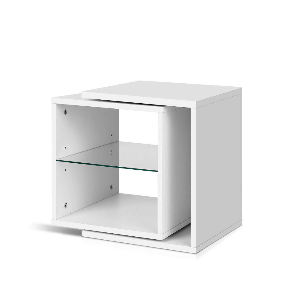 Tonos White Glass Shelf Bedside Table
