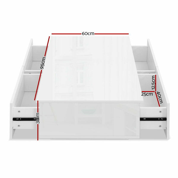 Hugo White 4 Drawer High Gloss Coffee Table