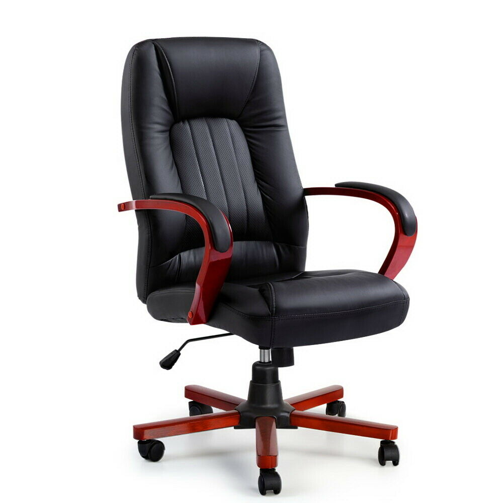 Cono Executive Black Leather Office Chair
