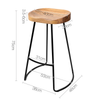 2x Lovren Natural Backless Bar Stool