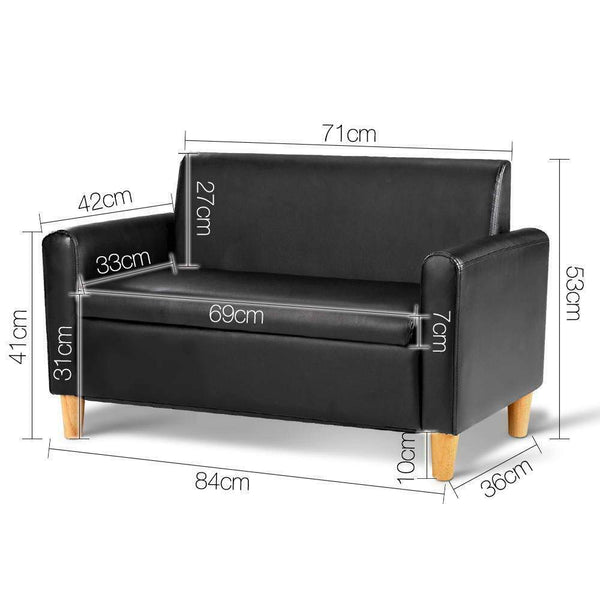 Kids Double Couch Black