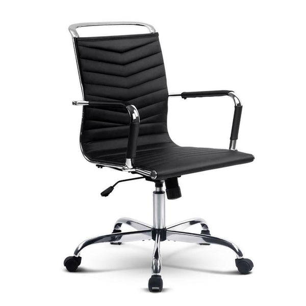 Suno Black PU Leather Office Chair