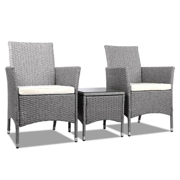 Gordon 3 Piece Grey Outdoor Table Chair Set