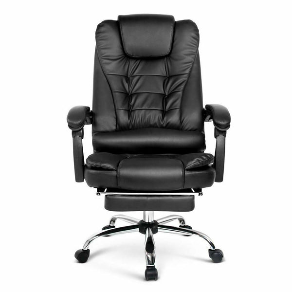 Office Chair with Foot Rest Black PU Leather