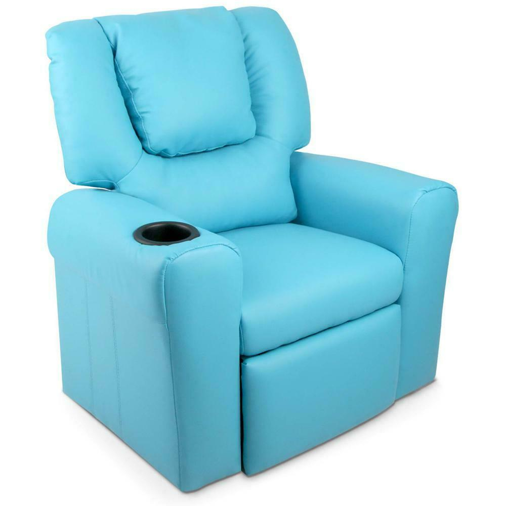 Kids Blue PU Leather Reclining Armchair