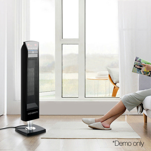 Portable Electric Ceramic Tower Heater Black