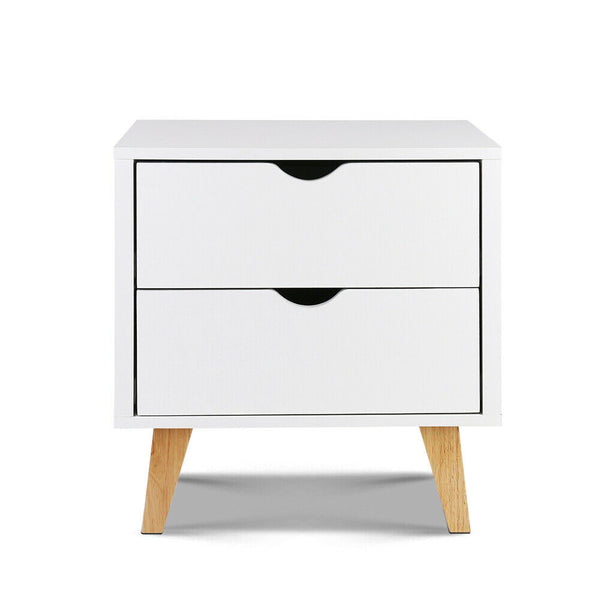 Wooden Bedside Tables 2 Drawer White
