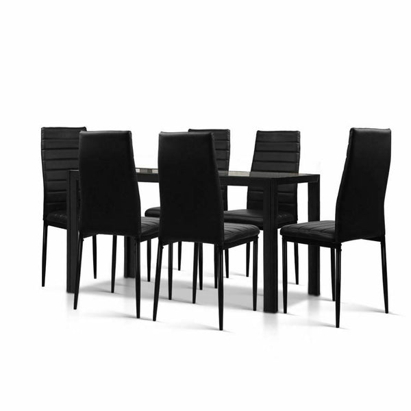 Novo Black 7PC Dining Table Set