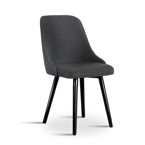 2x Modern Dining Chair Onyx Charcoal Black