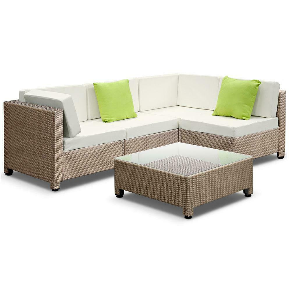 Gordon 5 Piece Brown Outdoor Wicker Set