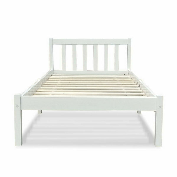 Hela White Single Size Wooden Bed Frame