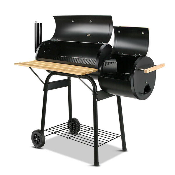 2in1 Black Offset BBQ Smoker