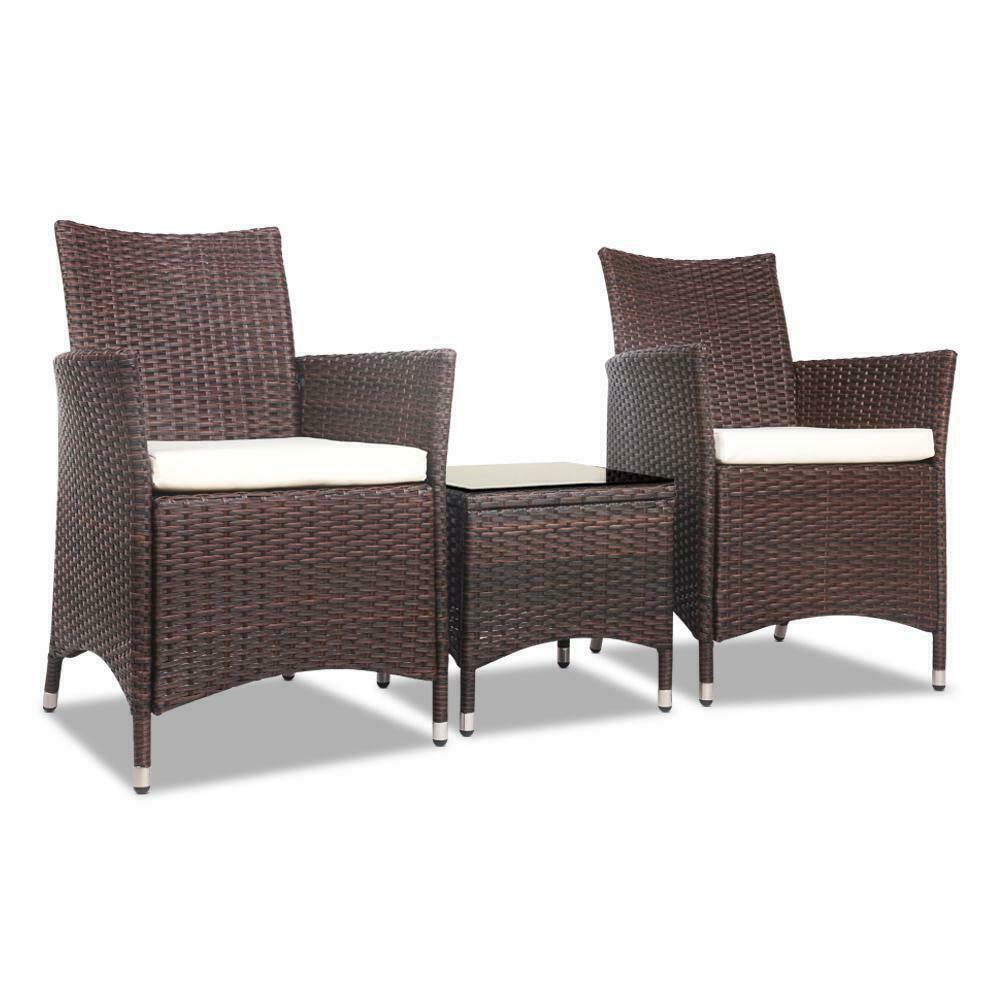 Gordon 3 Piece Brown Outdoor Table Chair Set