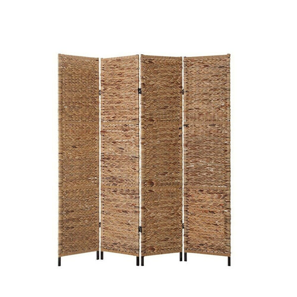 Woven Water Hyacinth 4 Panel Room Divider