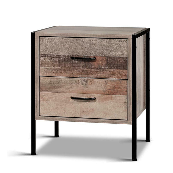 Bedside Table 2 Drawer Timber Look