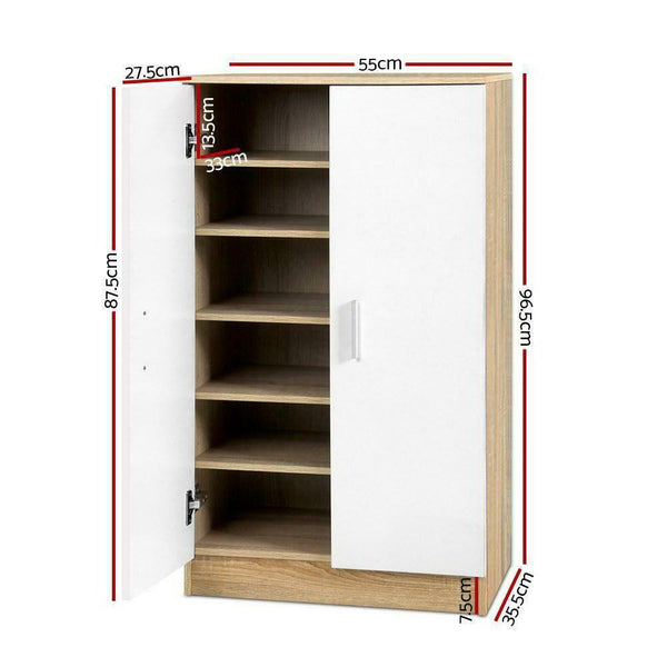 White Natural Wood Shoe Storage Cabinet