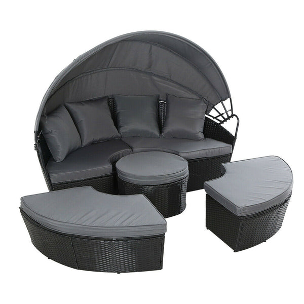 Lova Outdoor Black Canopy Lounge Set
