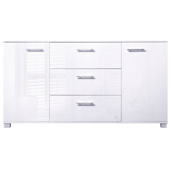 Ela White High Gloss Storage Sideboard Cabinet