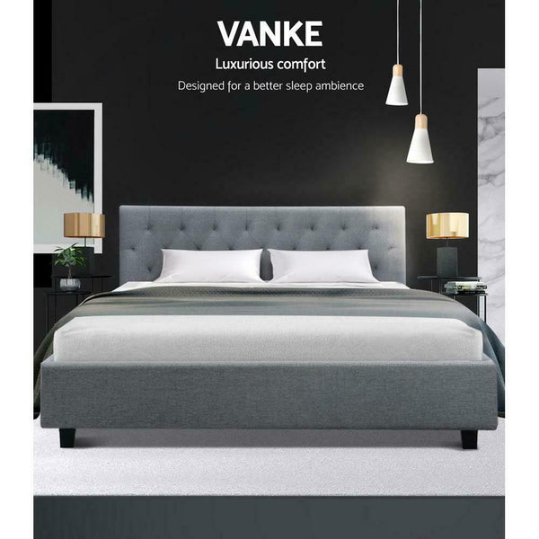 Vanke King Size Grey Wooden Bed Frame