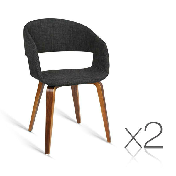 2 Set Hugo Charcoal Fabric Dining Chair