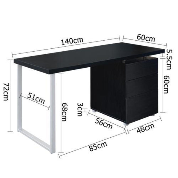 Magnum 3 Drawer Black Metal Computer Desk