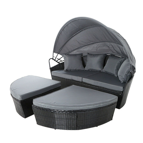 Novren Outdoor Black Canopy Lounge Set