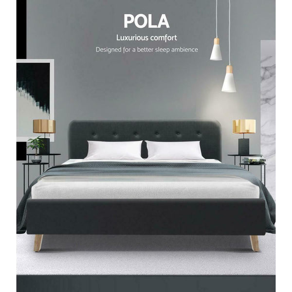 Pola Queen Size Charcoal Bed Frame
