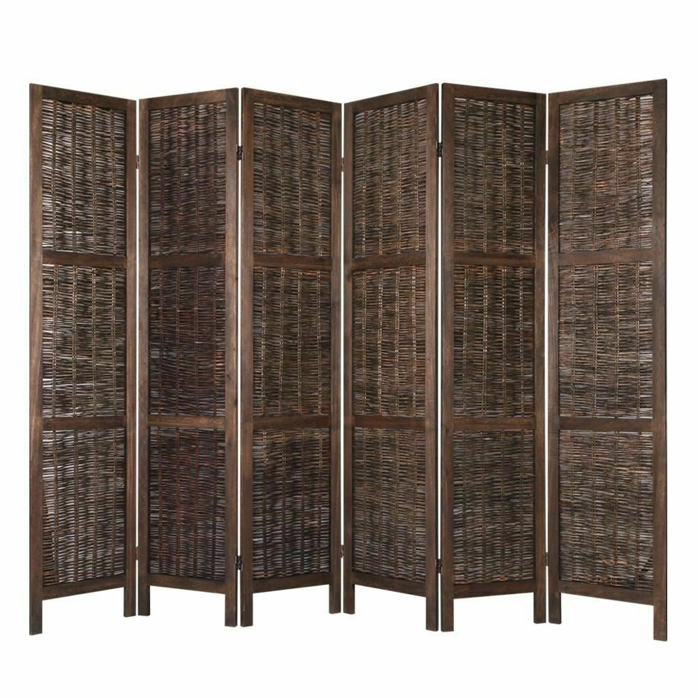 Dark Brown Paulownia Wood 6 Pannel Room Divider