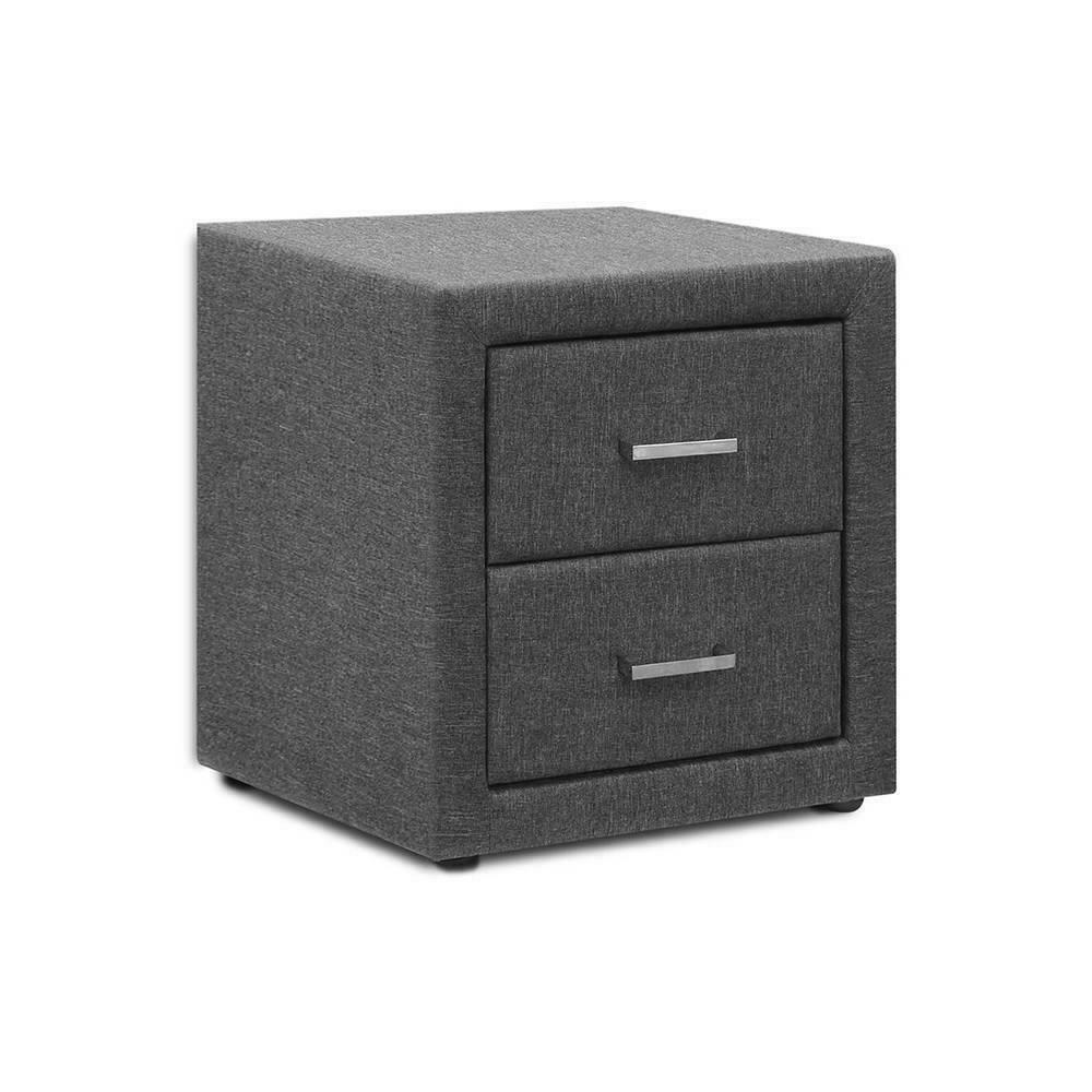 Fabric Bedside Table 2 Drawer Grey