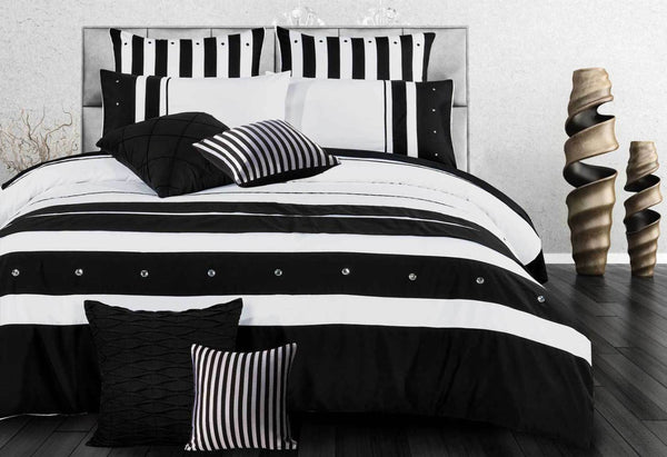 3Pcs King Size Cover Set Black White Striped Quilt