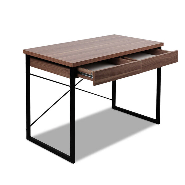 Magun Walnut Solid Drawer Metal Office Computer Desk