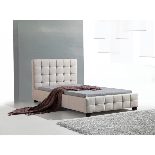 Versa Solid Beige King Single Linen Fabric Deluxe Bed Frame