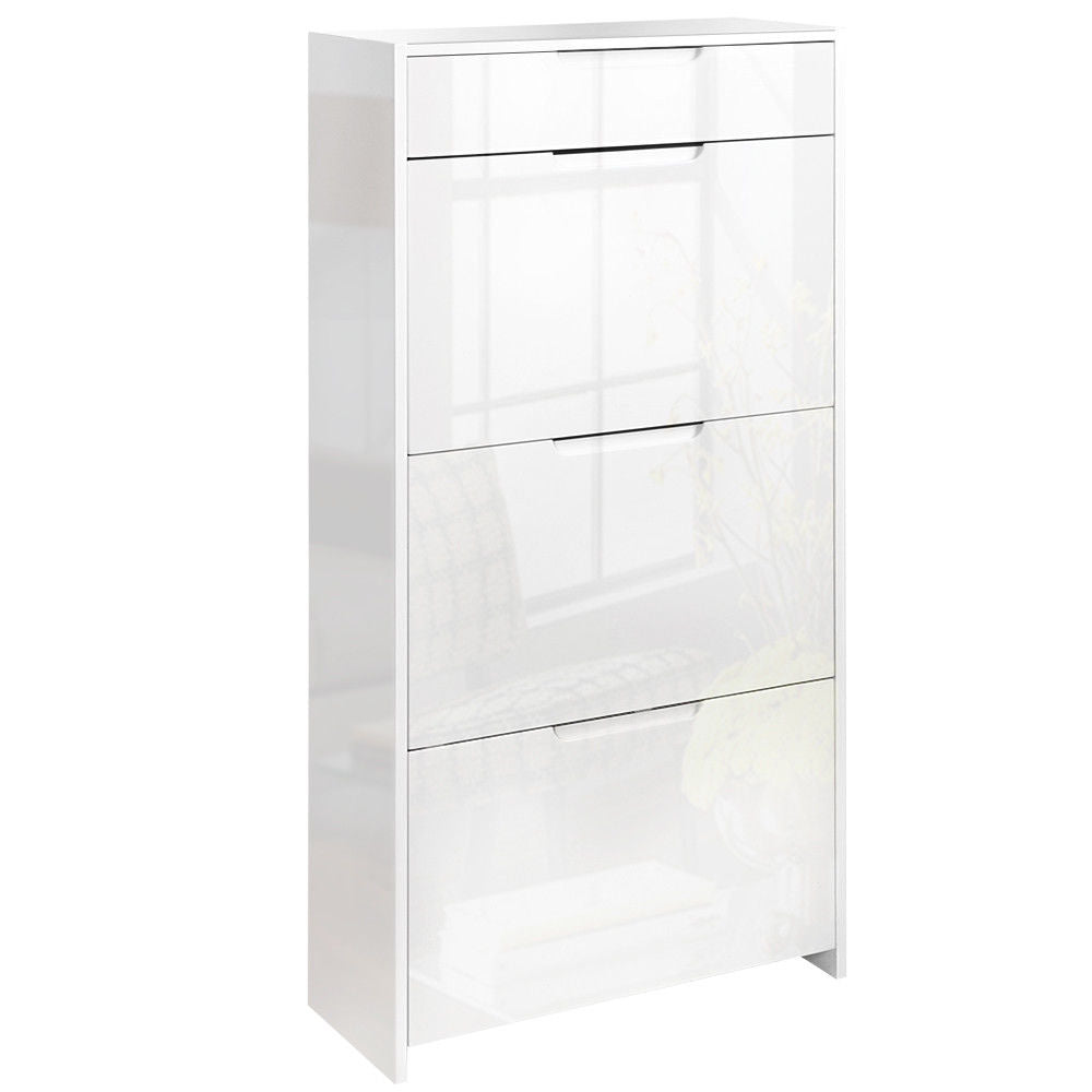 Solona White High Gloss Wooden Shoe Storage Cabinet