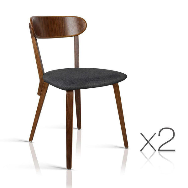 2x Modern Dining Chair Charcoal Corena